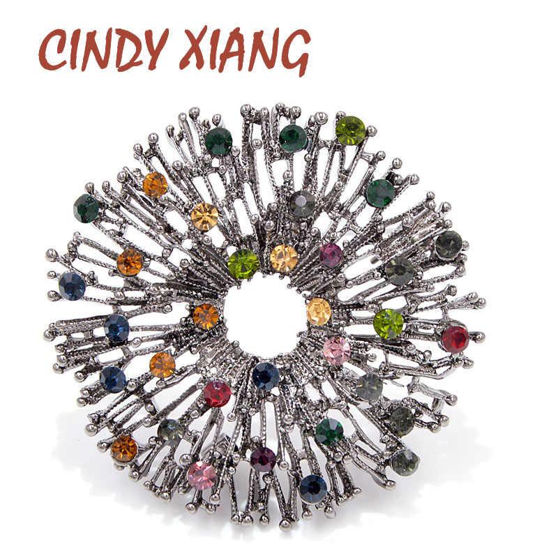 Cindy Xiang Baru Warna-warni Bunga Bros untuk Wanita Vintage Bulat Mantel Bros Pin Sweater Aksesoris Kualitas Tinggi Hadiah