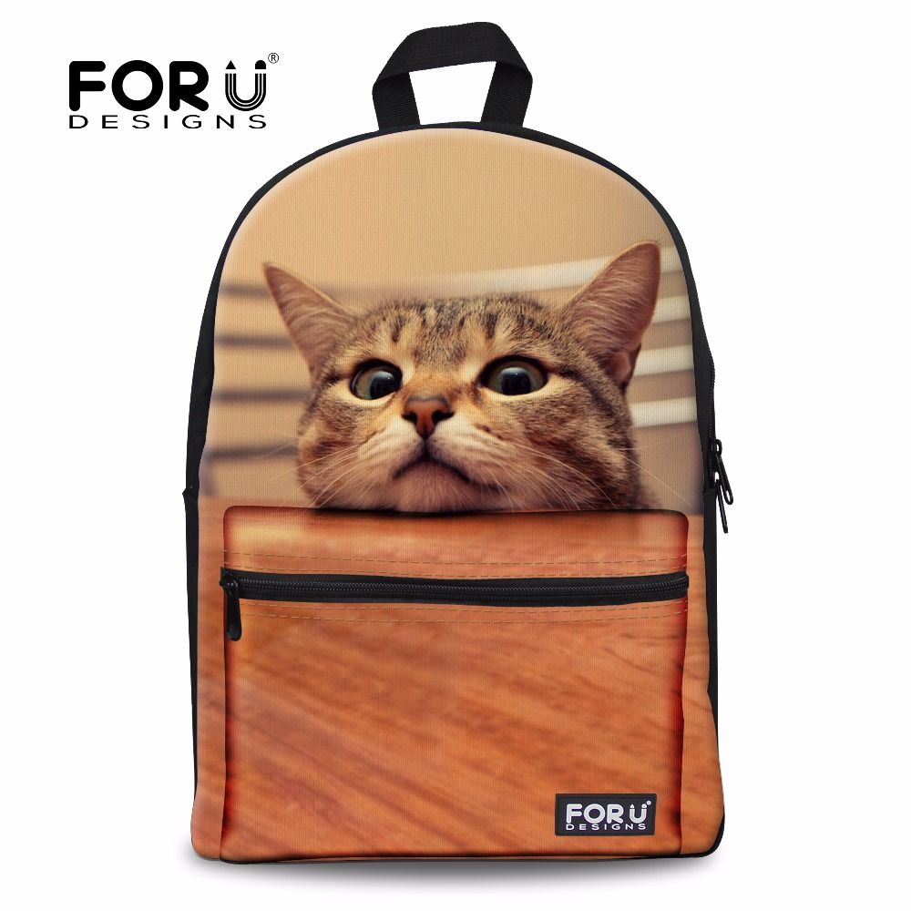 New 3D women backpack school girls cute cat print shoulder backpacks for college students campus back pack animal cat face