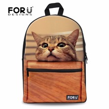 FORUDESIGNS Women 3D Animal Backpack Cute Cat Printing Backpacks for Teenagers Girls College Students Female Campus Back Pack