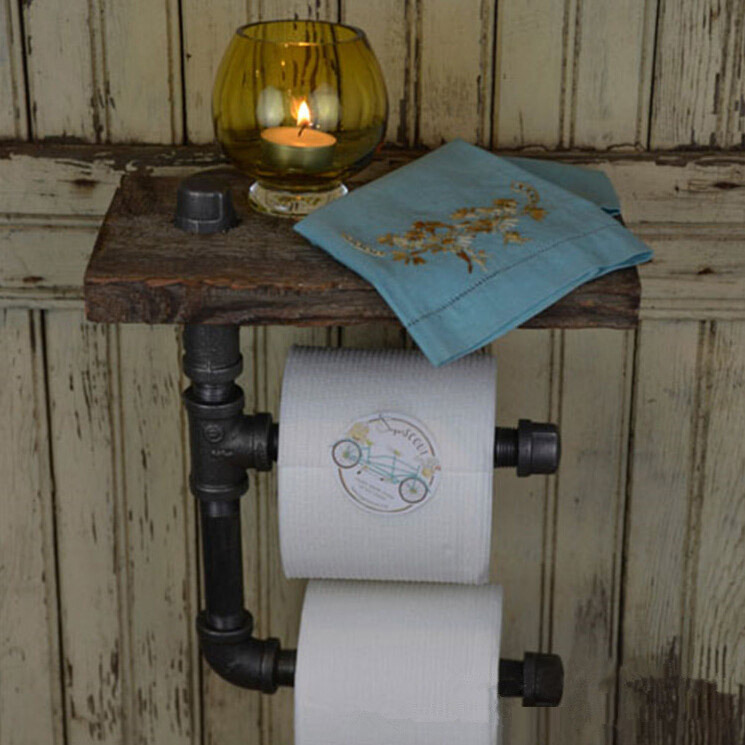 1PC paper holder Urban Style Iron Pipe Reclaimed Wood Toilet Roll Holder  Bathroom Shelves Towel Rrack - Compare Prices On Reclaimed Wood- Online Shopping/Buy Low Price