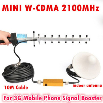 Mini 3G Boosters W-CDMA 2100Mhz Mobile Phone Signal Repeater 3G WCDMA Signal Repeater Amplifier 13dBi Yagi Antenna With Cable