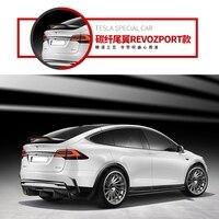 Revozport 스타일 탄소 섬유 자동차 후면 윙 트렁크 립 스포일러는 Tesla Model X 2016 2017 2018