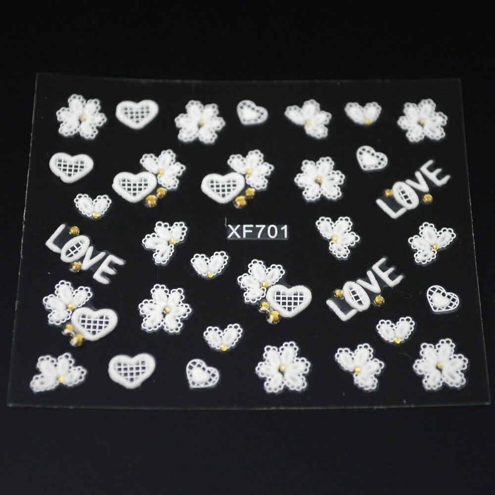30 Blatt 3d Mixed Blumen Design Nail art Aufkleber Weiß Klebstoff ...