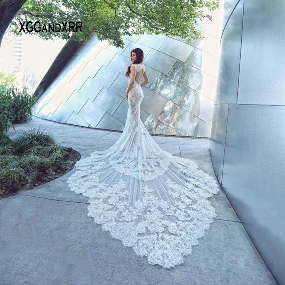 Image 3 - Luxury Lace Mermaid Wedding Dress 2019 Sweetheart Cap Sleeves Backless White Dress Cathedral Train Gelinlik Vestido De Noiva-in Wedding Dresses from Weddings & Events