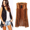 2016 New Arrvial Spring Europe Star Style Suede Tassel Vest Women Sleeveless Waistcoat Office Lady Slim All Match Clothes
