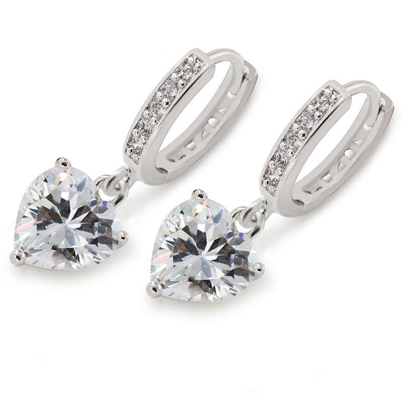 MxGxFam Сердце CZ Шарм серьги-кольца для женщин модные украшения AAA+ кубический циркон белого золота цвет - Окраска металла: White Gold Plated