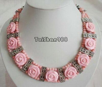 Vente chaude Noble-LIVRAISON GRATUITE >>>@@ vente Chaude S>>>>> 3 Rangées de Corail Rose Fleur Pendentif Tibétain Argent Fermoir collier