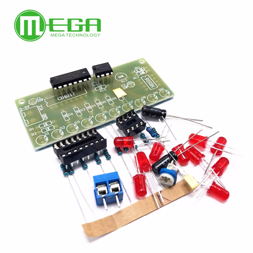 Ne555 Cd4017 Practice Learing Kits Led Flashing Lights Module For Circuit Board Arduino Clock Generation Pcb Electronic Suite In Integrated Circuits From