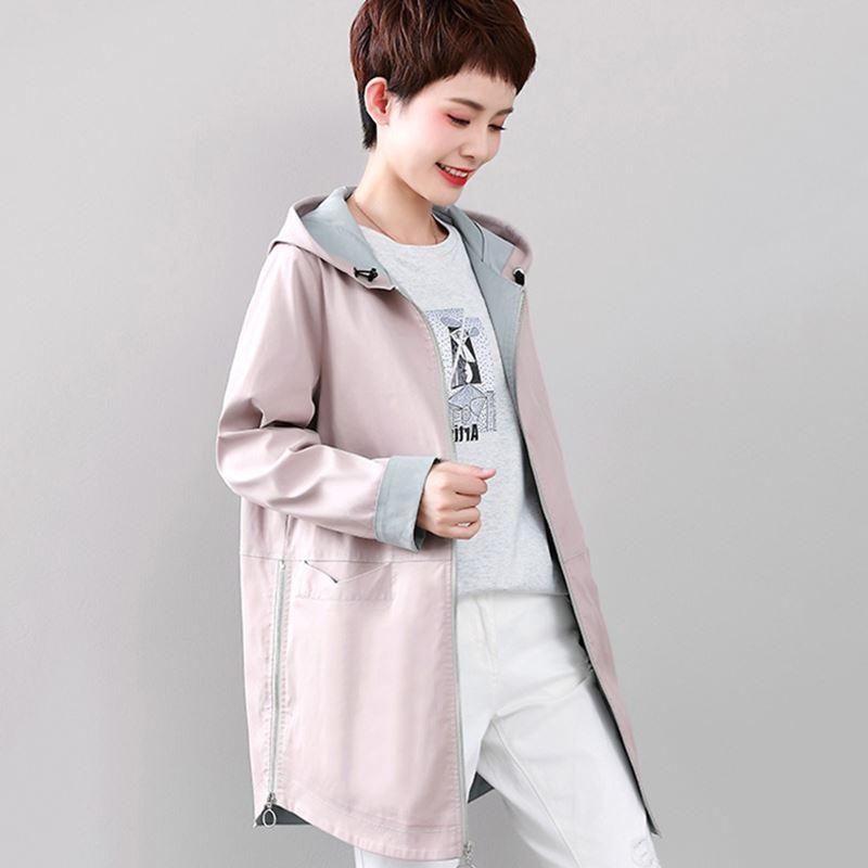 Printemps automne décontracté manteau solide Trench femmes col montant à manches longues Trench droit simple boutonnage manteau