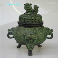 Collectible Chinese Bronze Carved lucky coin incense burner / Temple lion Censer