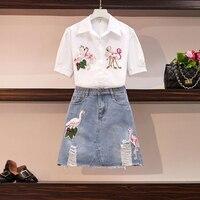 2 Piece Set Women Plus Size Clothes 2019 Summer New Fashion Swan Embroidery Short Sleeve Shirt + Hole Mini Denim Skirt Suits