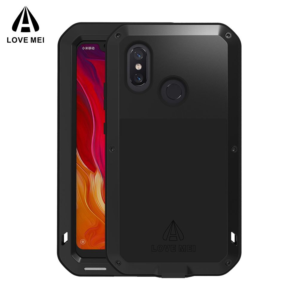 Love Mei For Xiaomi Mi 9 Case Shockproof Silicone Metal Armor Protective Case For Xiaomi Mi8 M8 Mi9 Mi6 Cover Funda Glass Film in Fitted Cases from Cellphones Telecommunications