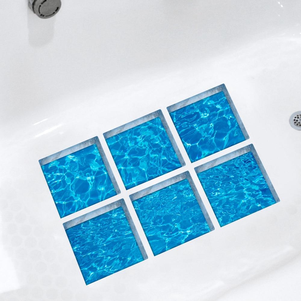 Funlife 3D Anti Slip Waterproof PVC Bathtub Sticker Decor Waves ...