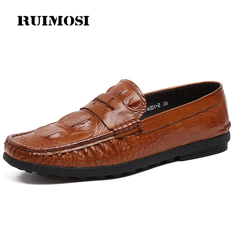 RUIMOSI New Man Crocodile Flat Heels Casual Creepers Shoes Genuine Leather Comfortable Loafers Brand Round Men's Footwear PF83