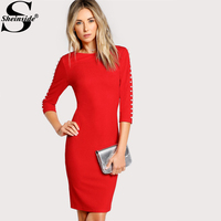 Sheinside Pearl Beading Sleeve Form Fitting Dress 2017 Red Round Neck 3 4 Sleeve Sexy Pencil