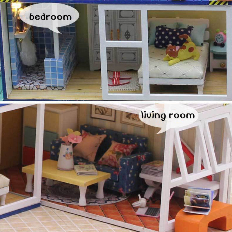 Miniature Dollhouse Furniture Kits Wooden Contain House Model DIY Dolls  House Toys For Children Kids Birthday Xmas Gift In Figurines U0026 Miniatures  From Home ...
