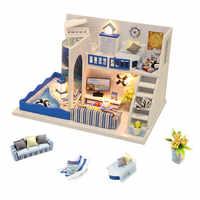 3D casa delle bambole in legno miniature fai da te piccolo mobili casa di bambola kit giocattoli per i bambini casette in legno casas en miniatura