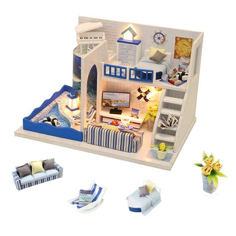 3D kit miniaturas diy pequena casa de boneca móveis casa de bonecas de madeira brinquedos para crianças cassete em legno casas em miniatura