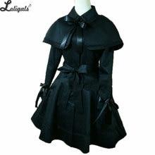 Готический женский плащ Черное длинное пальто с накидкой размера плюс на заказ