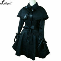 Gothic Women's Trench Coat Black Long Coat with Cape Plus Size Custom Tailored