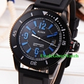 Bliger 43mm Black Dial Sub Style Mens Automatic Watch Black PVD Case Blue Marks Clock Black Rubber StrapTimepiece BA4301PLK
