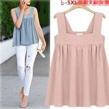 1524c12f429 Cute Camis Summer Pink Sky blue T-shirt Strap Ruched Ruffles Plus Size Tops  For Big Women L-5XL blusas femininas T76807