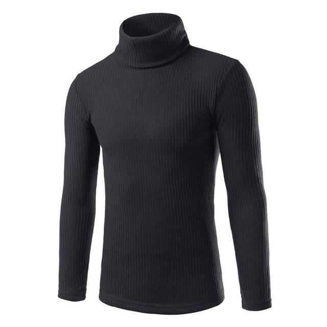 Sweater Men New Autumn Winter Slim Fit High Collar Turtleneck Pullover Men Casual Solid Color Jumper Jersey Hombre