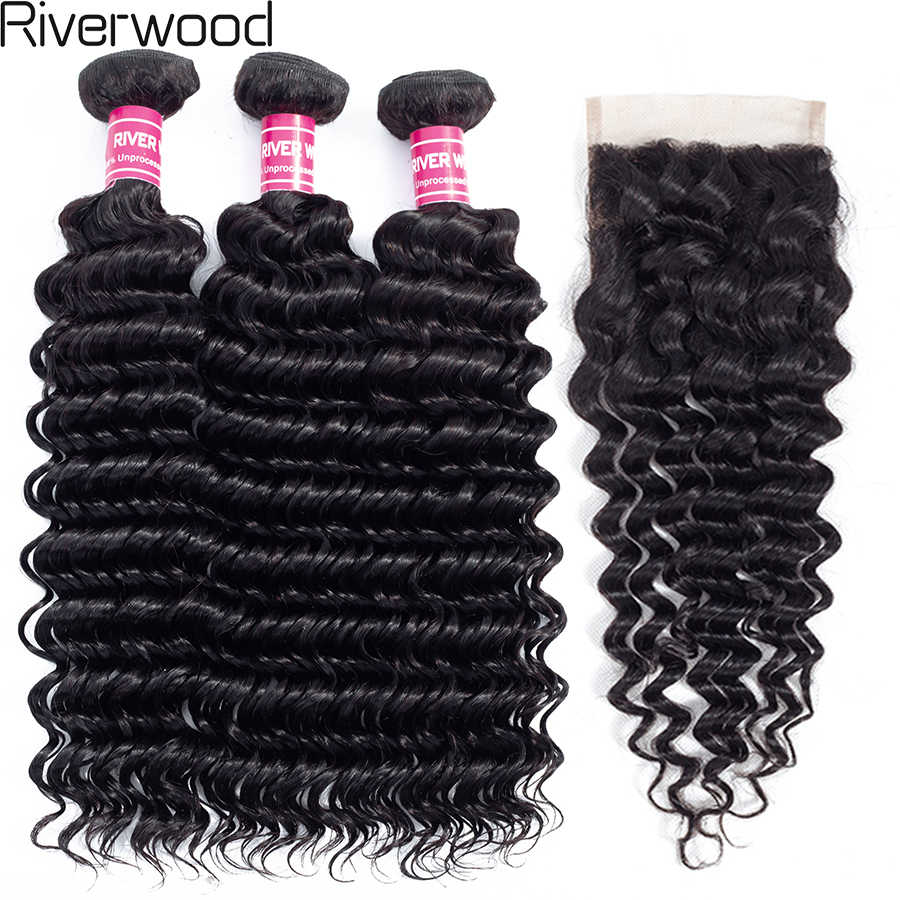 Loose Deep Wave 2/3 Bundles With Lace Closure Brazilian Human Hair Weave Bundles With 4*4 Free Part Closure Remy Hair Extensions