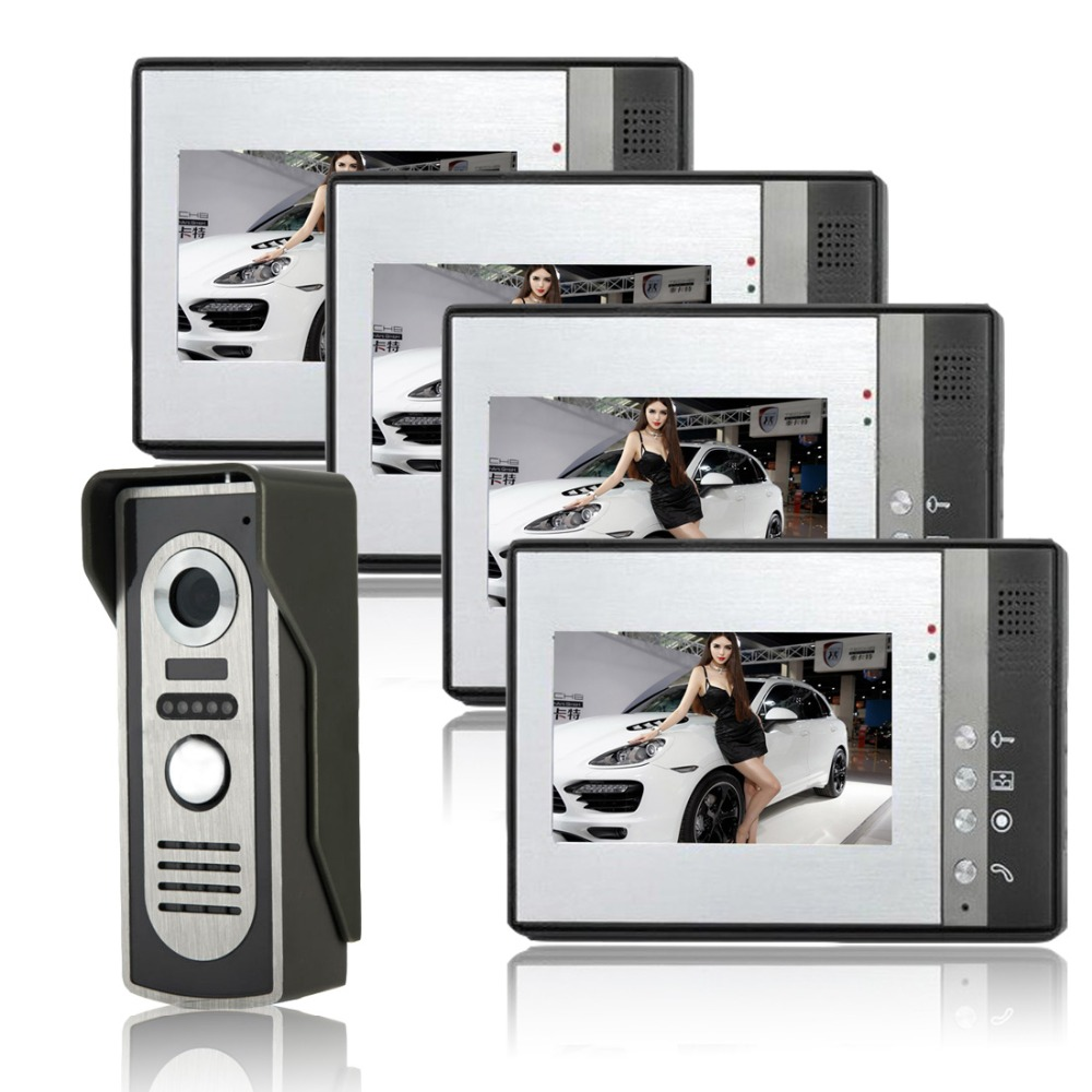 SYSD 7 TFT Video Intercom IR Camera Outdoor Monitor video door phone intercom night vision 7 inch video doorbell tft lcd hd screen wired video doorphone for villa one monitor with one metal outdoor unit night vision