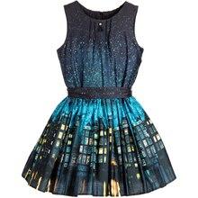 Girls Dress Sleeveless Blue & Yellow Cotton Houses Print Kids Summer Dress For Girls Clothes Princess Party Dress for girls