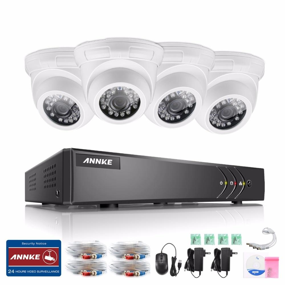 8CH 5ini 1080N DVR 4 720P 1500TVL CCTV IR-CUT Wired Camera Home Security System