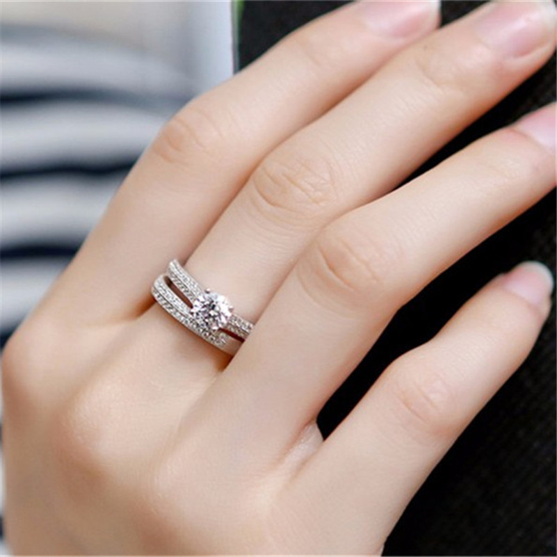 100 925 Sterling Silver Rings for Women Double Simple Design Ring Bijoux Femme Bridal Wedding Jewelry 100% 925 Sterling Silver Rings for Women Double Simple Design Ring Bijoux Femme Bridal Wedding Jewelry Engagement Accessories