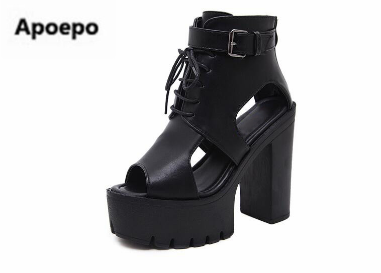Apoepo brand women summer ankle boots lace up women sandals peep toe sexy high heels sandals women gladiator sandals boots girls platform sandals summer long boots gladiator sandals women high heels leopard shoes sandalias femininas lace up high boots d536