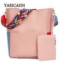 Striped Casual Tote Women Shoulder Bags Fashion Pu Leather Ribbon Shoulder Messenger Bags Famous Designer Brand