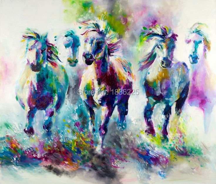 Aliexpress Buy 3d Horse Pictures Animals Oil Painting Deer Wall Art Picture Head On Canvas Paintings From