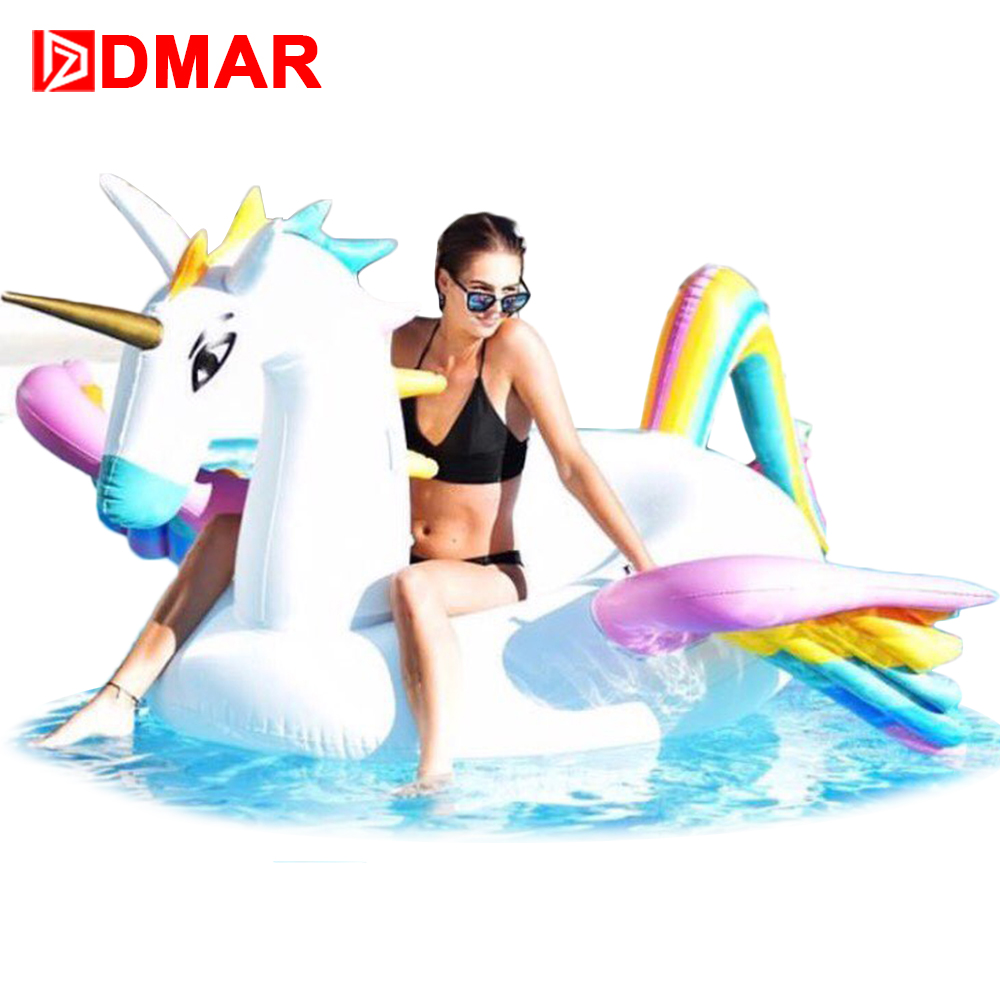 DMAR Inflatabl Pegasus Giant Pool Float 250cm Inflatable Mattress Rideable Mat Swimming Ring Circle Beach Sea Water Party Toys 5m giant inflatable unicorn rainbow pegasus pool floating swimming circle air mattress water toys for child adult beach party