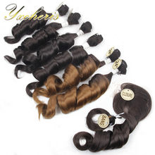 YXCHERISHAIR 6Pcs Synthetic Funmi Hair Bundles with Closure and Bang 8Pcs/pack 20 22 24 inches Kanekalon Wavy Weaving Hair(China)