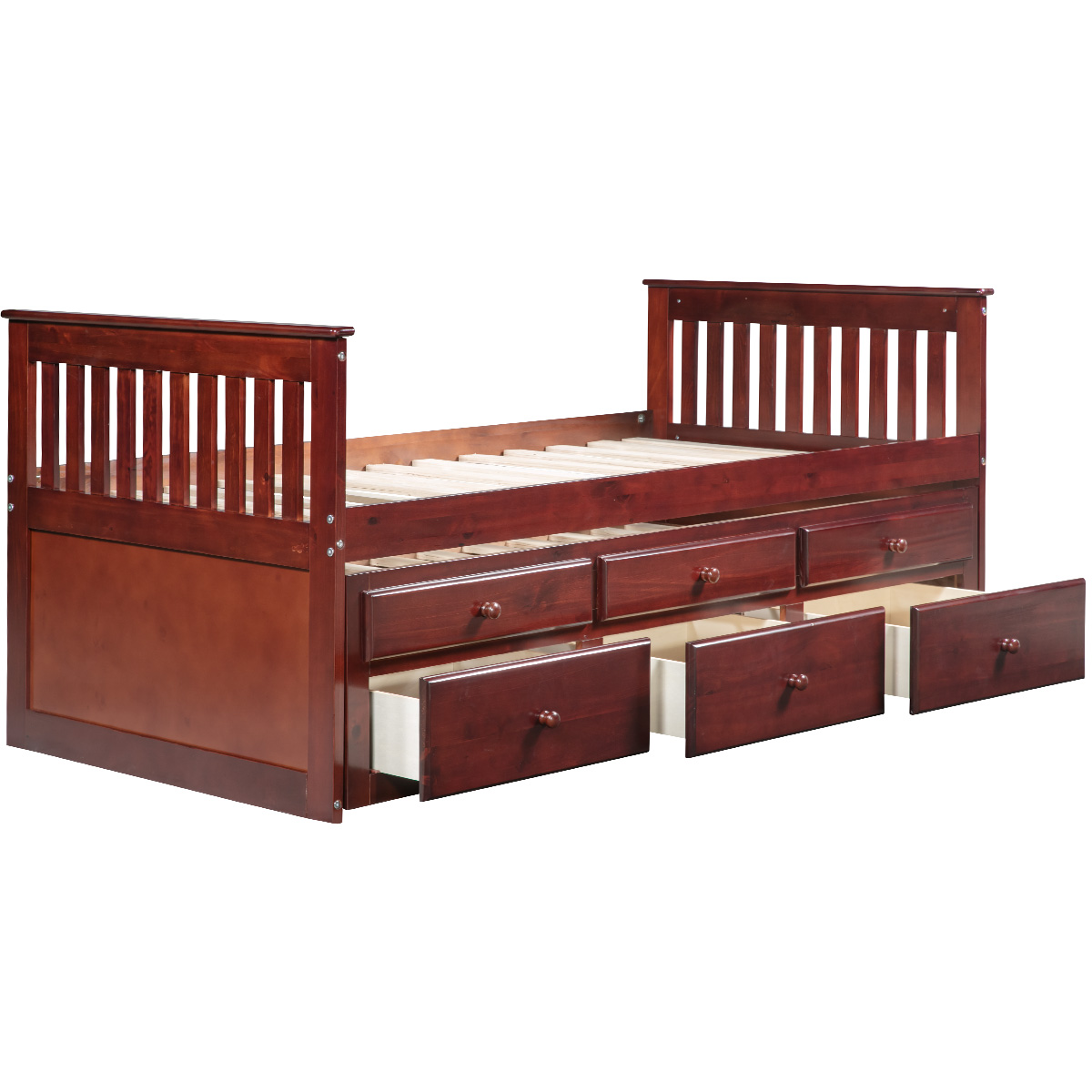 Captains Bed Twin Daybed with Trundle Bed and 6 Storage DrawersCaptains Bed Twin Daybed with Trundle Bed and 6 Storage Drawers