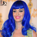 Fashion Cos Cosplay Wig Long Curly Wavy Blue Wig Synthetic Hair Wigs