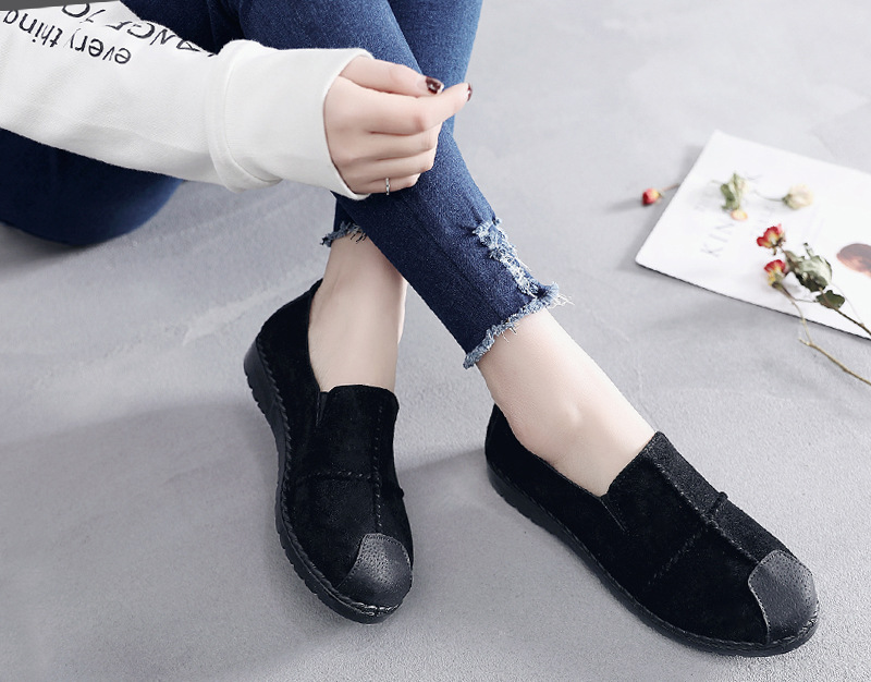 Plus Size Summer Women Flats Fashion Splice Flock Loafers Women Round Toe Slip On Leather Casual Shoes Moccasins New 2019 VT209 (22)
