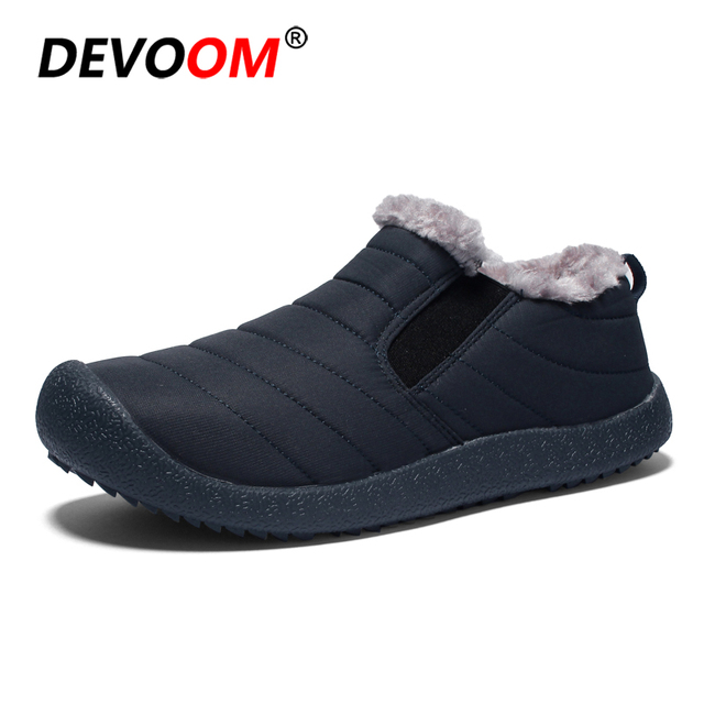 c03d894d2c6 US $27.06 40% OFF|Waterproof Winter Shoes Men Fashion Cotton Shoe Anti Slip  Fur Lined Slip on Shoes 2018 Warm Footwear For Man Unisex Plus Size-in ...