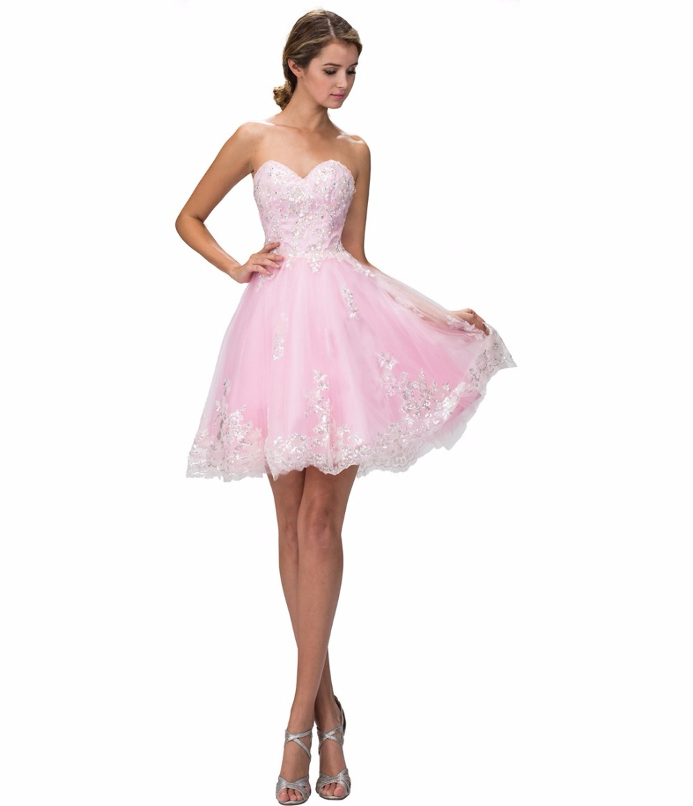 Cute pink blue juniors short prom dresses knee length for Dresses for juniors for weddings