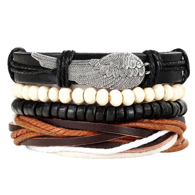 New Fashion Bead Leather Bracelets & bangles for Woven 3/4 pcs 1 Set Multilayer Wristband Vintage Handmade Bracelet Men Pulseira 2