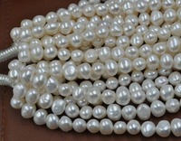 wholesale 5 strands 8 9mm Baroque white fresh water pearl loose beads Free shipping