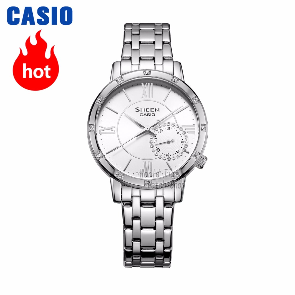 timeless design 72909 0b336 US $121.89 49% OFF|Casio watch SHEEN Women's quartz watch simple fashion  trend diamond waterproof pointer watch SHE 3046-in Women's Watches from ...
