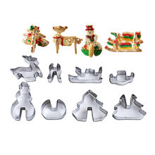 8 Pcs/Set Xmas Decoration Cookie Biscuit Mould Stainless Steel Christmas Tree Snowman Sleigh Elk Fondant Cake Cutter DTT88(China)