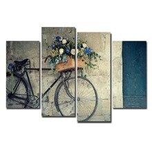 2017 Jie Do Art 4 Pieces Canvas Painting Vintage Home Decor Print Retro Bike Oil