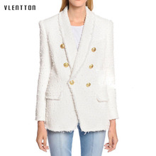 Long blazer woman spring autumn 2019 New office white Blazer Women's Double Breasted Lion Buttons Tweed jacket ladies blazer tweed blazer women elegant double breasted office blazer femme fashion black sequin long blazer spring jacket ladies blazer