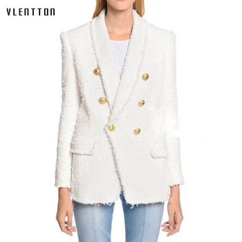 цена Long blazer woman spring autumn 2019 New office white Blazer Women's Double Breasted Lion Buttons Tweed jacket ladies blazer онлайн в 2017 году