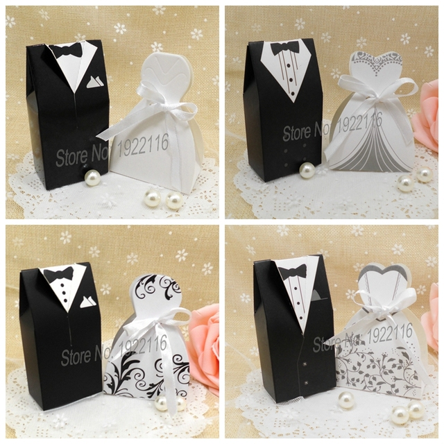 Free Shipping 200pcs Bride And Groom Wedding Candy Bo Gift Box Souvenir Accessories